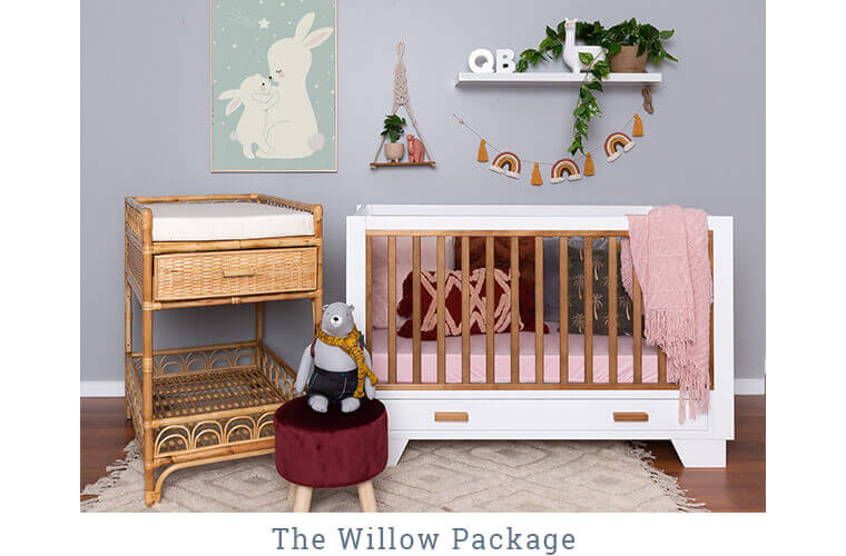 THE WILLOW PACKAGE includes the Strathmore Cot and the Sienna Change Table