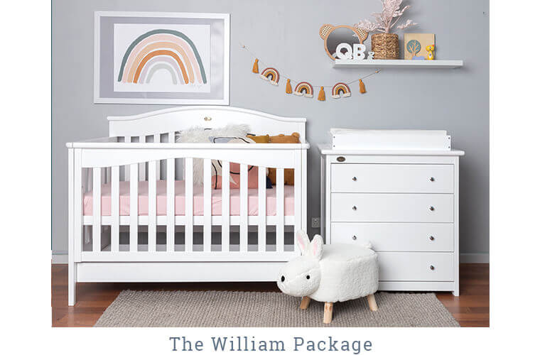 THE WILLIAM PACKAGE includes the Windsor Cot and the 4 Drawer chest with change mat