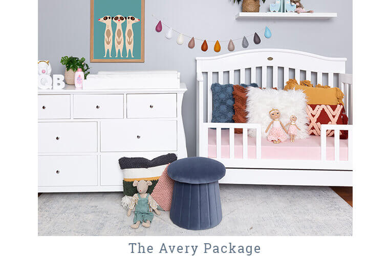 THE AVERY PACKAGE includes the Windsor Cot and the Regal 7 Drawer Chest