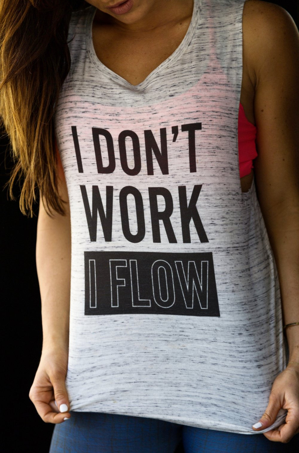 I DON'T WORK I FLOW Women's Low Swoop Muscle Tank