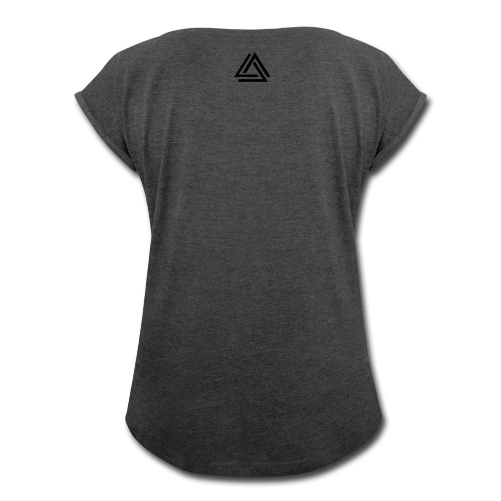 """Be Disruptive"" Women's Roll Cuff T-Shirt - heather black"