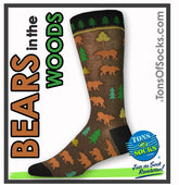 Men's Bears in the Woods Socks (Brown)
