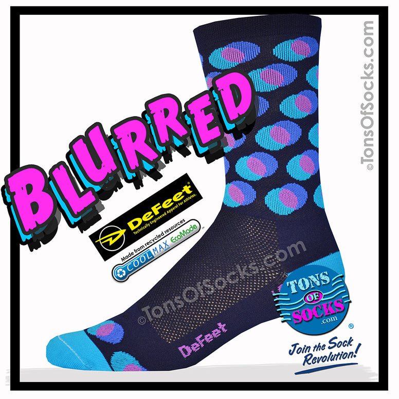 Men's DeFeet Blurred Performance Crew Socks (Navy)