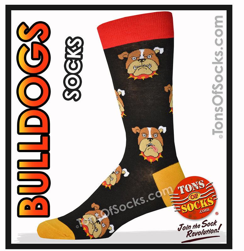 Men's Bulldog Socks (Black, Gold & Red)