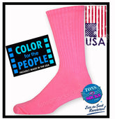 Men's Colorful Cotton Crew Socks (Bright Pink)
