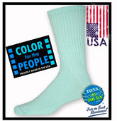 Men's Colorful Cotton Crew Socks (Moonlight Jade)