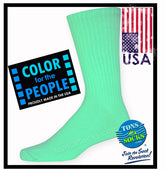 Men's Colorful Cotton Crew Socks (Paradise Green)