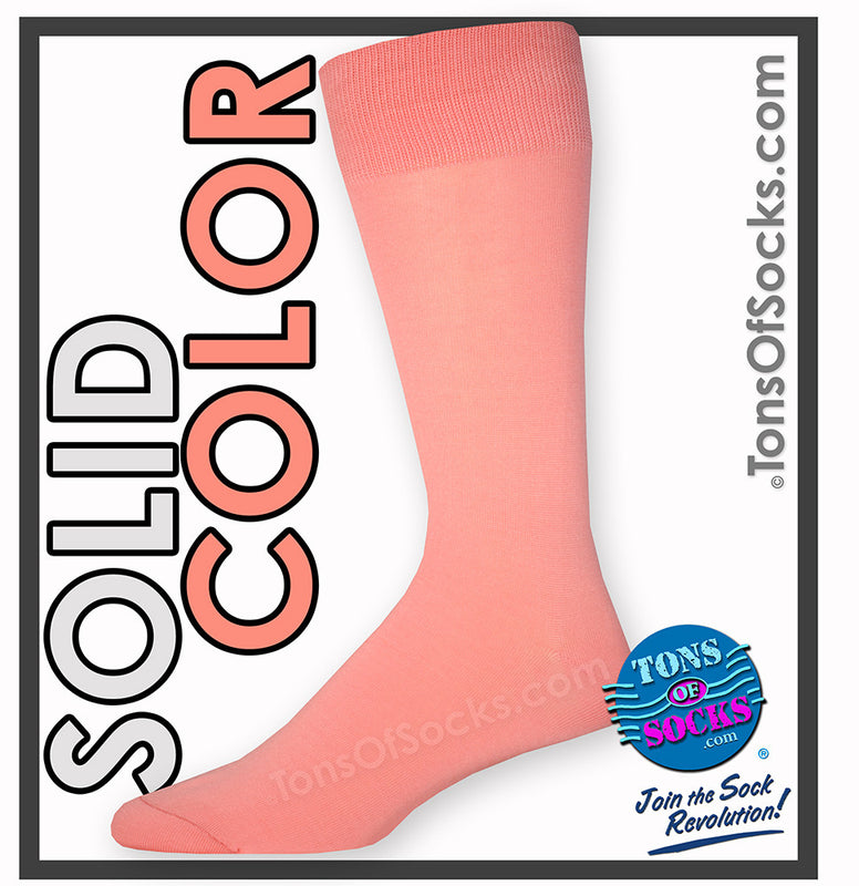 Men's Vannucci Solid Color Dress Socks (Coral Reef)