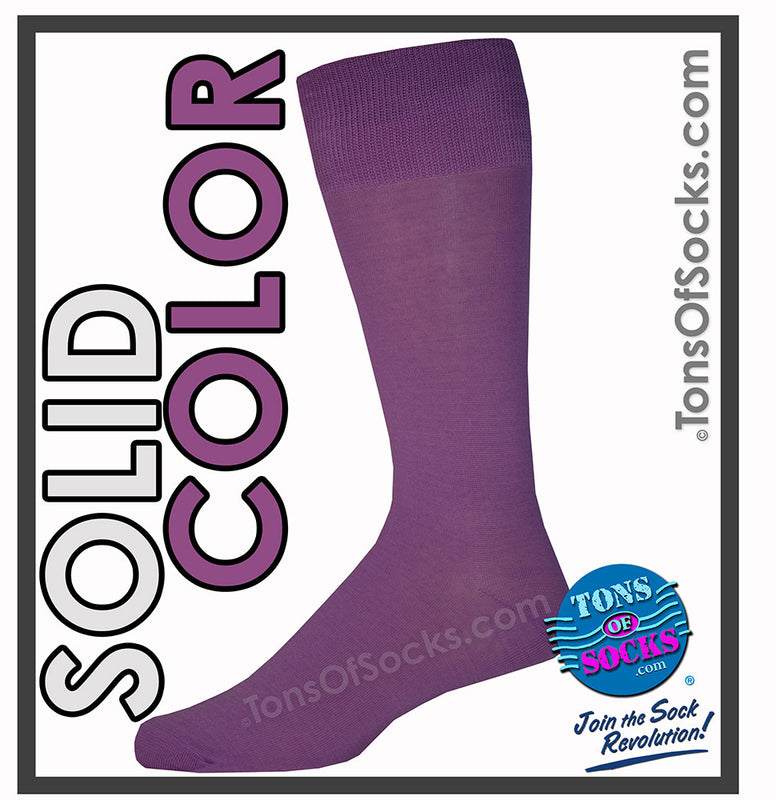 Men's Vannucci Solid Color Dress Socks (Dark Purple)