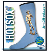 Men's Michelangelo's David Socks (Light Blue)