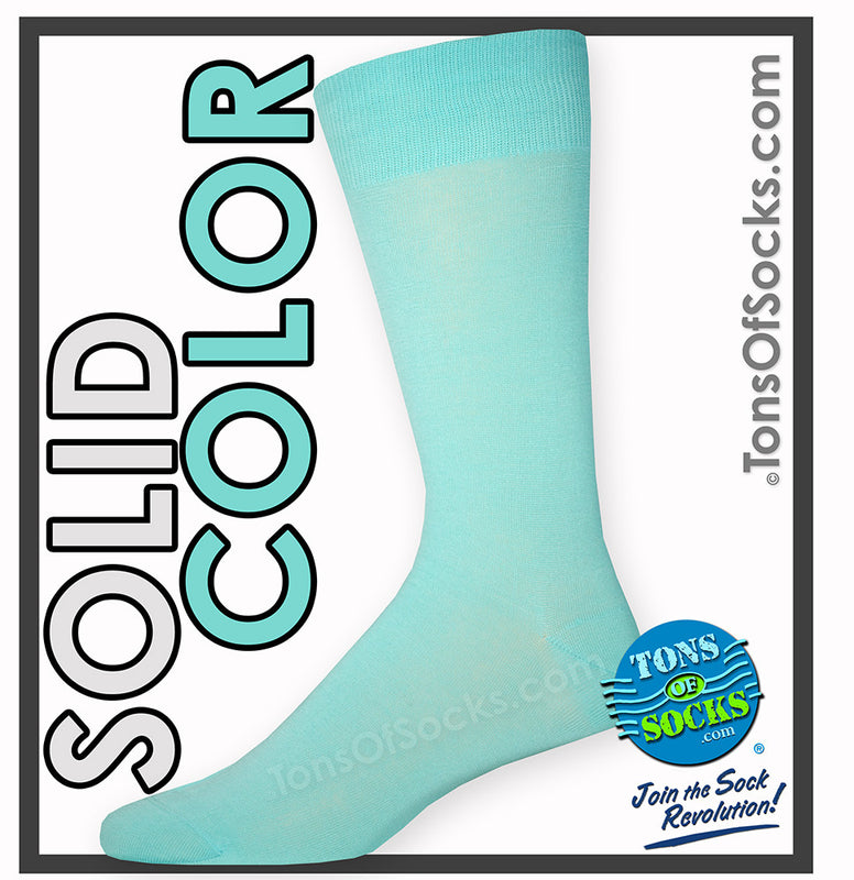 Men's Vannucci Solid Color Dress Socks (Deep Aqua)