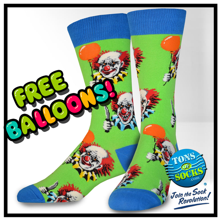 Men's Free Balloons Evil Clown Socks (NEW)