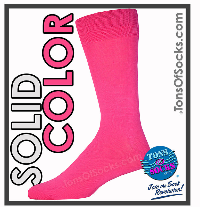 Men's Vannucci Solid Color Dress Socks (Hot Pink)