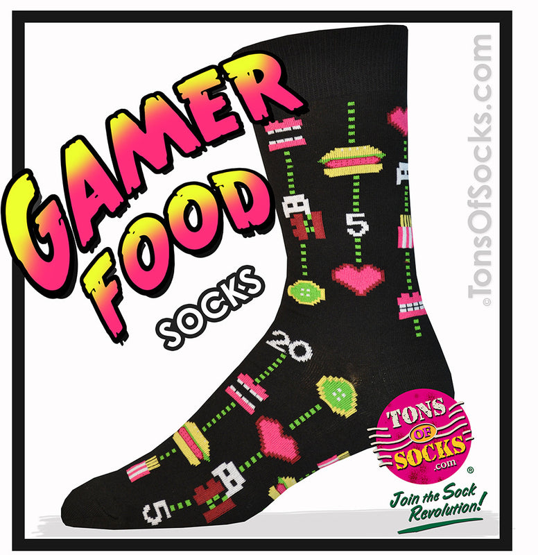 Men's Gamer Food Socks (Black)