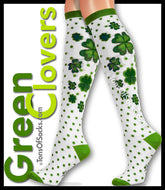 Women's Green Clovers Knee Socks