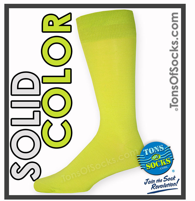 Men's Vannucci Solid Color Dress Socks (Lime Green)