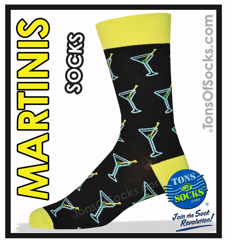 "Men's Martinis ""Shaken Not Stirred"" Socks (Black)"