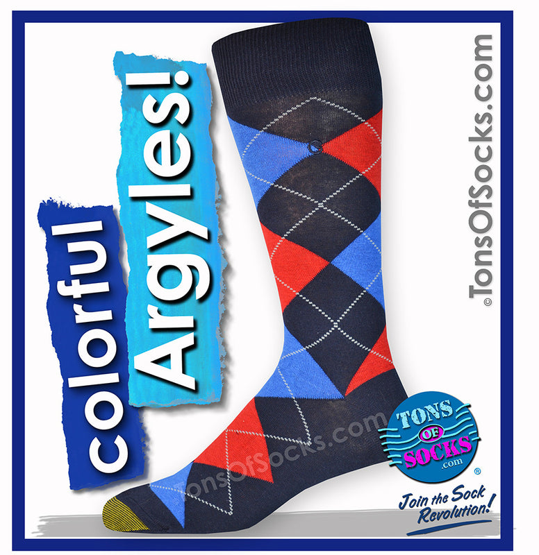 Men's GOLDTOE Colorful Argyle Socks (Navy)