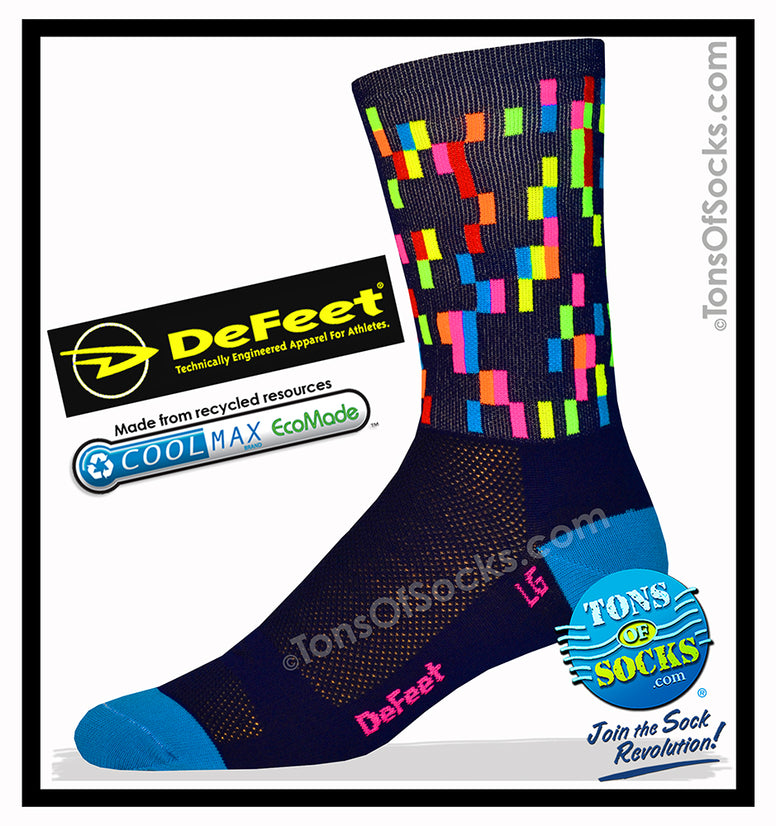 Men's DeFeet Pixel Performance Crew Socks (Navy)