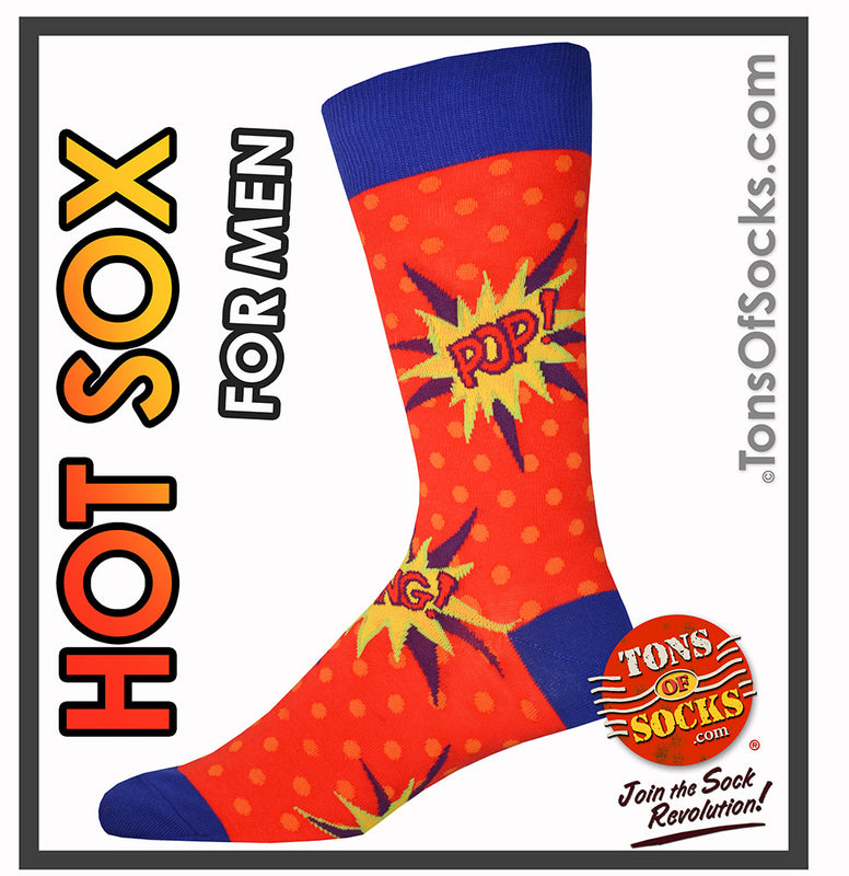Men's POP! BANG! POW! Comic Book Socks (Red)