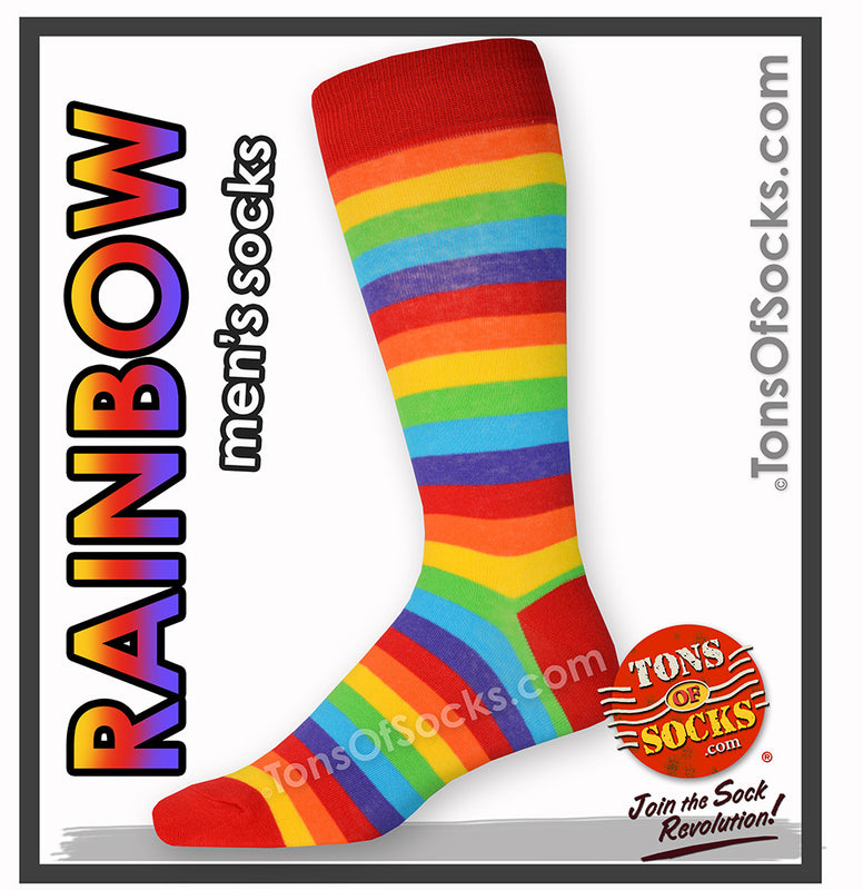 Men's Rainbow Stripe Socks (Red)