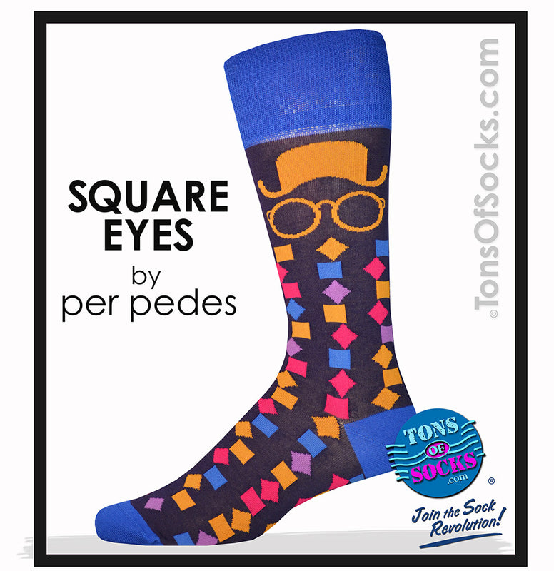 "Men's Designer ""Square Eyes"" Socks (Purple/Blue)"