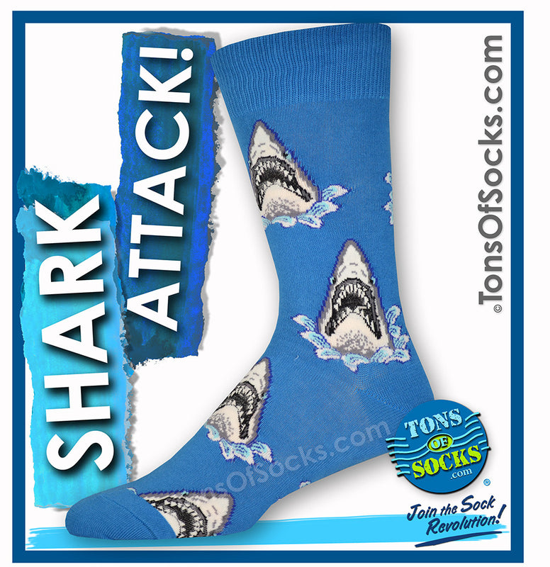 Men's Shark Attack Socks (Blue)