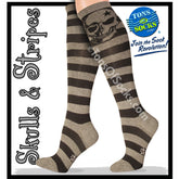 Women's Skull Knee Socks (Grey Stripe)