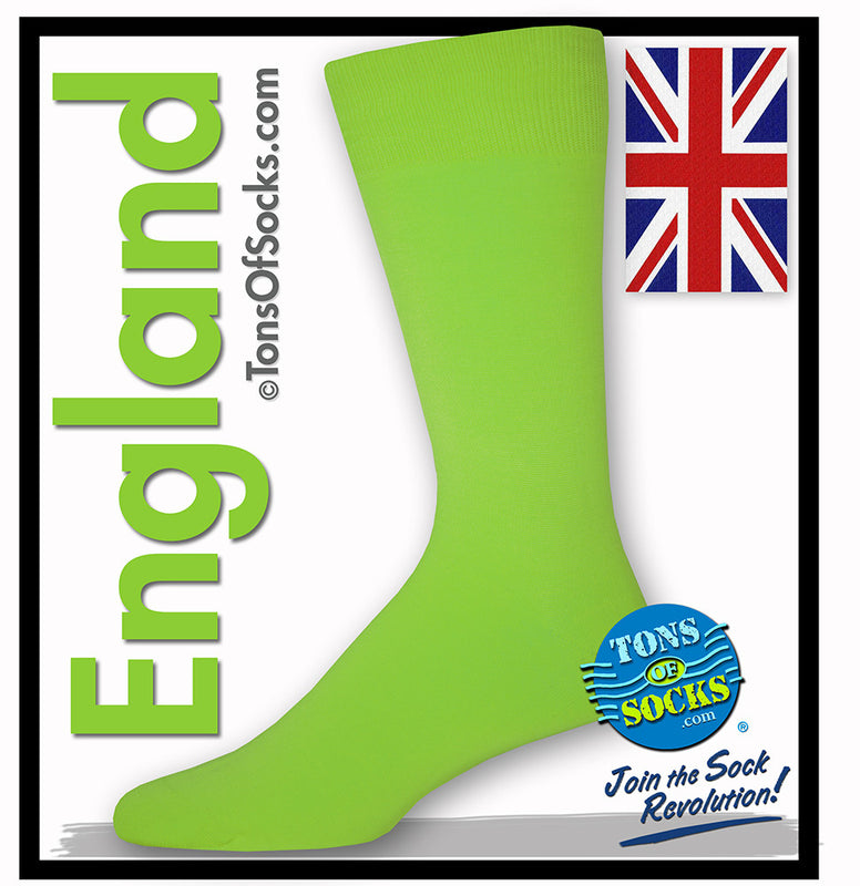 Men's Solid Color Lime Green Socks