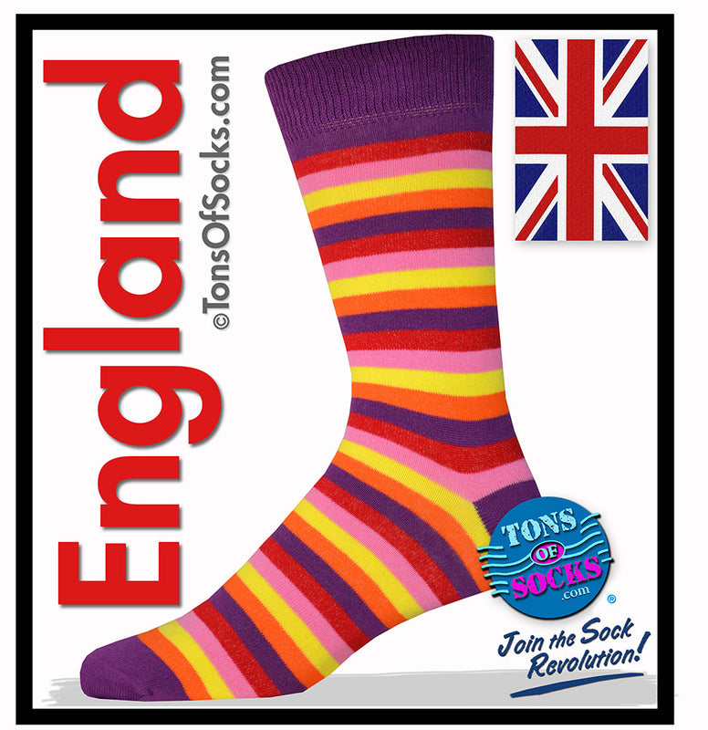Men's Multi Stripe Socks (Purple, Red, Yellow)