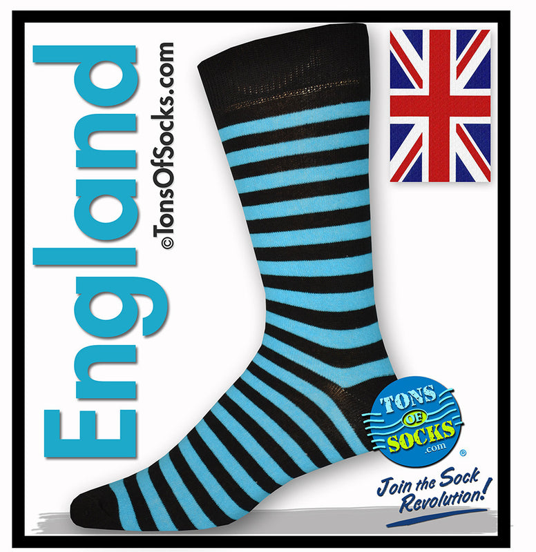 Men's Turquoise & Black Stripe Socks