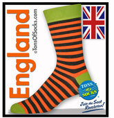 Men's Orange Striped Lime Socks