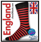 Men's Red & Black Stripe Socks