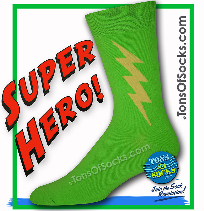 Men's Super Hero Socks (Lime Green)