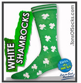 Men's White Shamrock Socks