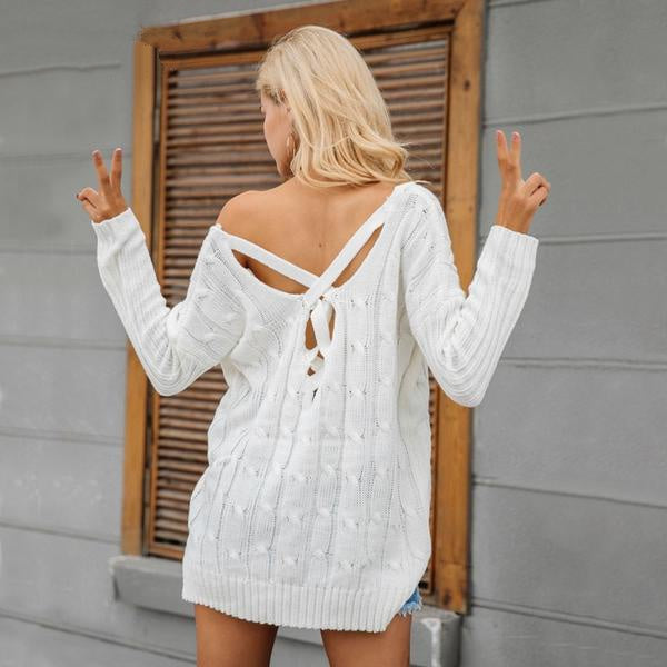 Crossed V Back Sweater - Grab, Shop & Go