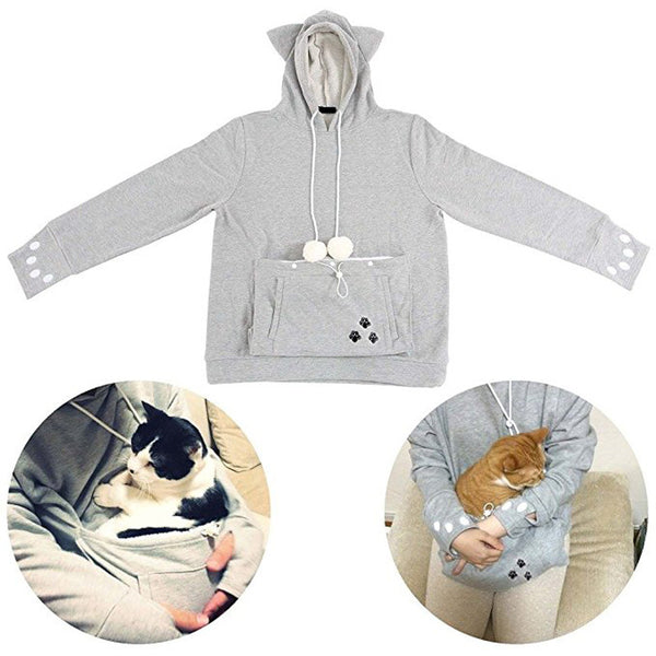 Cat Lovers Hoodie With Cuddle Pouch - Grab, Shop & Go