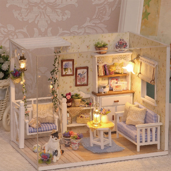 3D Wooden Miniature Dollhouse With Dust Cover - Grab, Shop & Go