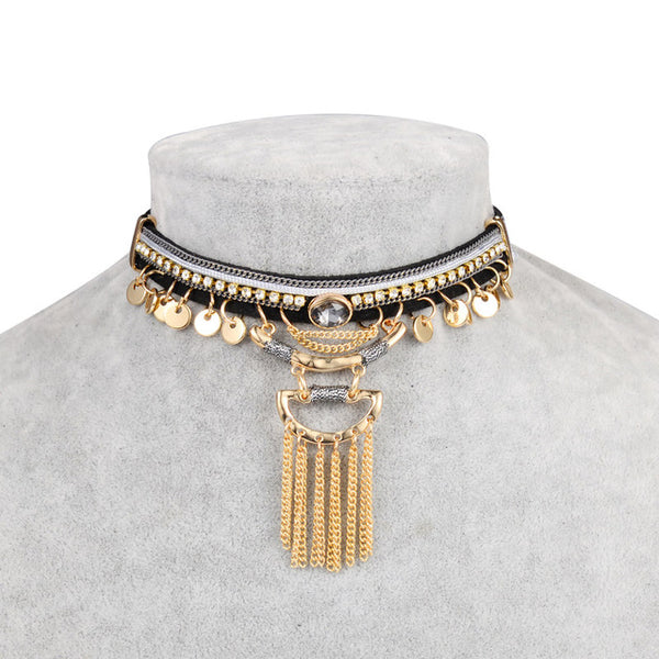 Bohemia Tassel Leather Choker Necklace - Grab, Shop & Go