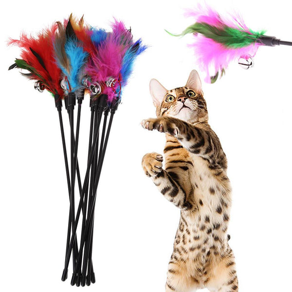 5Pcs Cat Toys Soft Colorful  Feather Bell Rod - Grab, Shop & Go