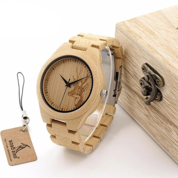 Bamboo Elk Wooden Watch - Grab, Shop & Go