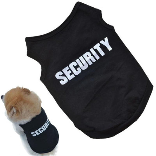 2018 Newly Design SECURITY Black Dog Vest Summer Pets Dogs Cotton Clothes Shirt - Grab, Shop & Go