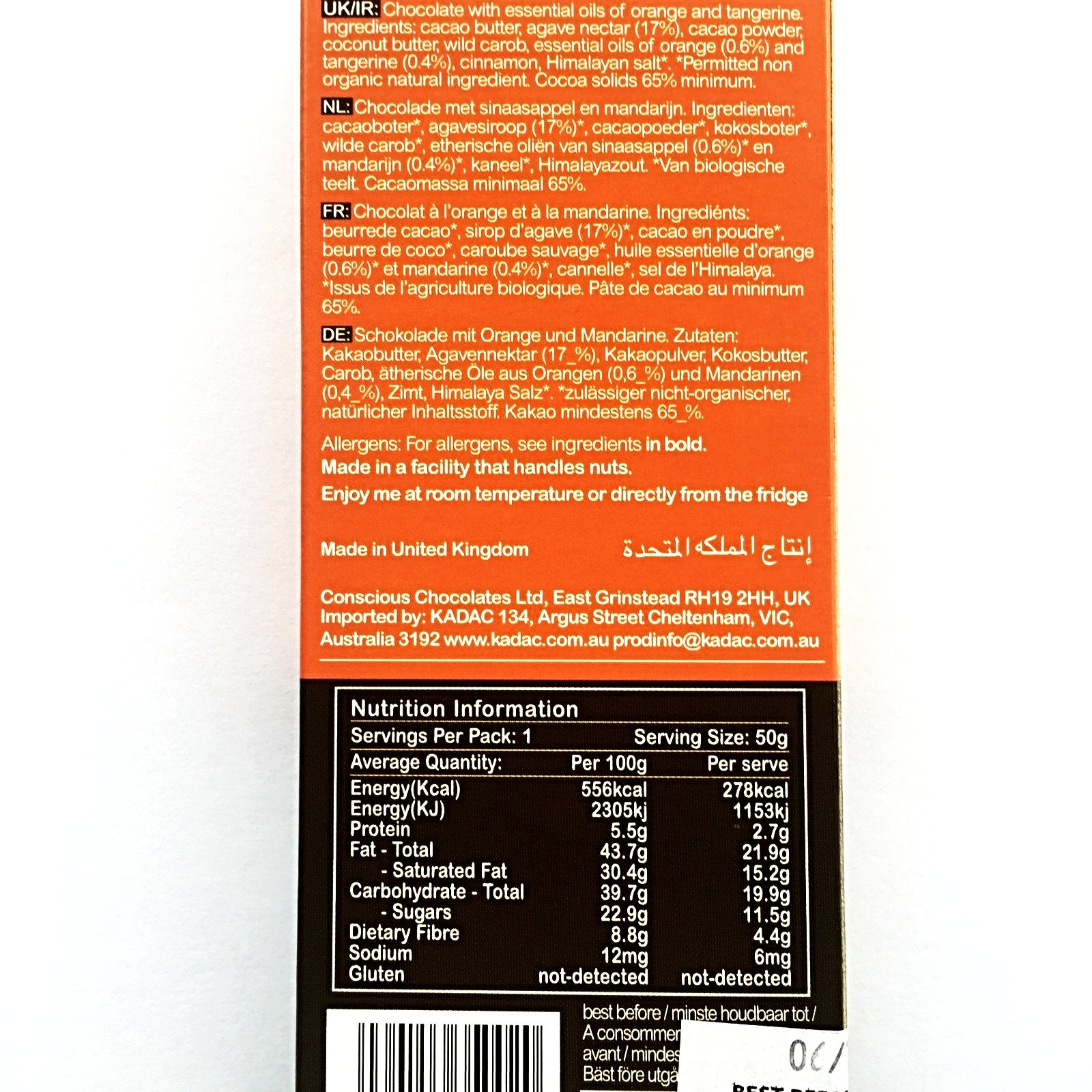Raw Organic Chocolate - Essential Orange (Vegan)