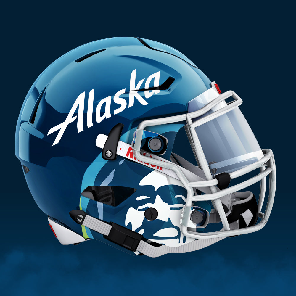 Alaska Airlines Football Uniform Design by Gibran Hamdan, Seattle Logo design expert.
