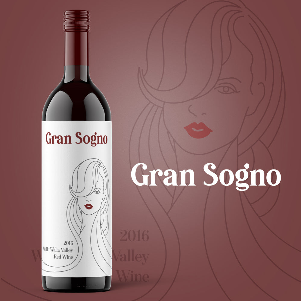 Gran Sogno Wine Label by Gibran Hamdan, Seattle Logo design expert.