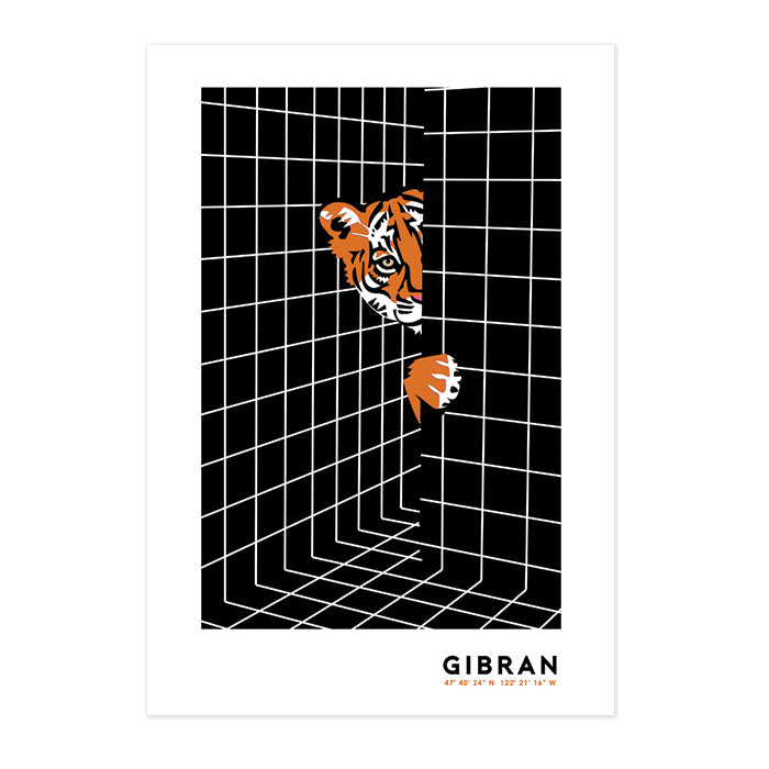 Bathroom Tiger Art by Gibran Hamdan