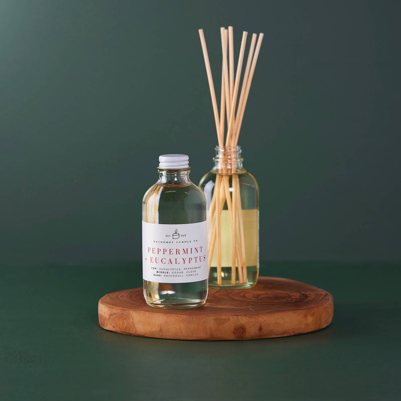 Rockaway Candle Co - Peppermint + Eucalyptus Reed Diffuser - Seasonal Collection