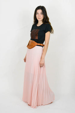 Pleated Pink maxi skirt
