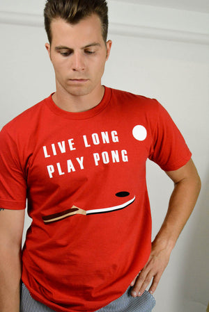 Live Long Play Pong Red Tee