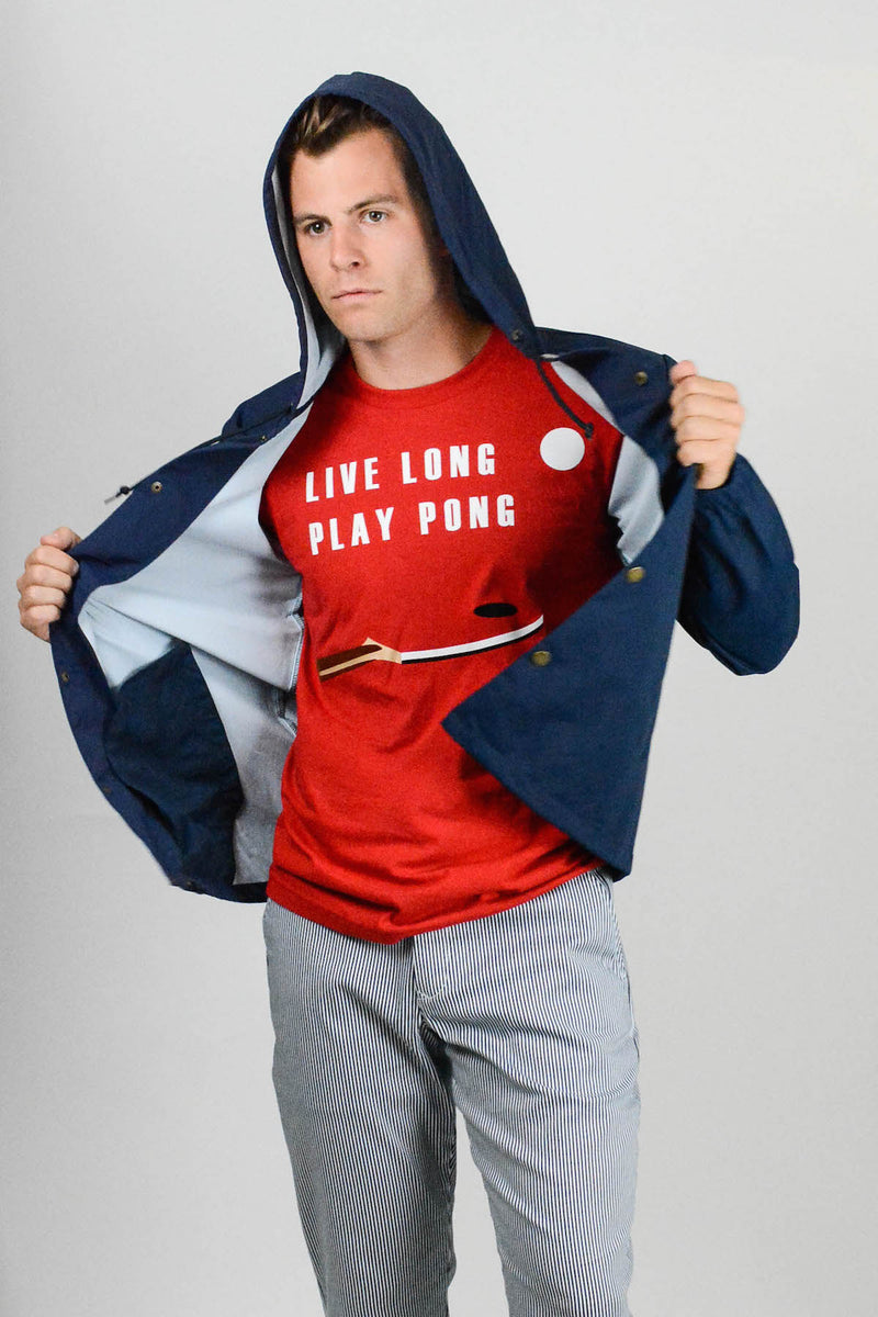 Live Long Play Pong White Tee